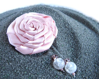 Brooch Pin, Handmade, Satin Rose, Pink Brooch, Beads, Flower Pin, Gift for her, Fashion, Jewelry, Accessory, Limited Edition