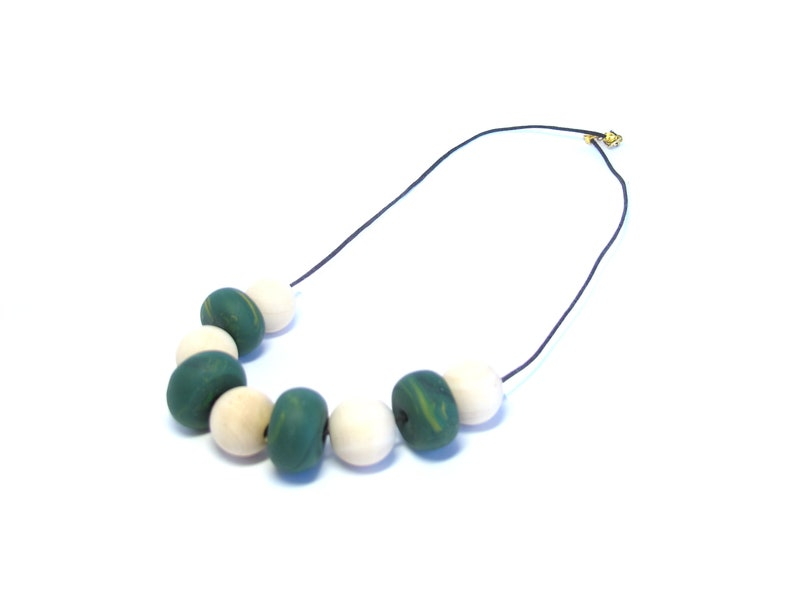 Gift Green Accessory,Limited edition Modern Nickel free Handmade Wooden Beads Unique Necklace Polymer clay Jewelry Fashion Beige
