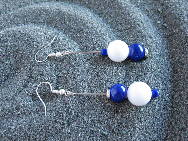 Earrings Blue /& White Gift Unique Modern Fashion Mismatch Silver Jewelry Handmade Accessory Limited addition Beads Nickel Free