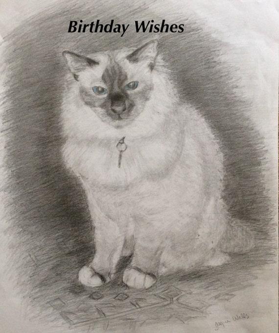 Birthday Card Birman Cat 7x5 From My Original