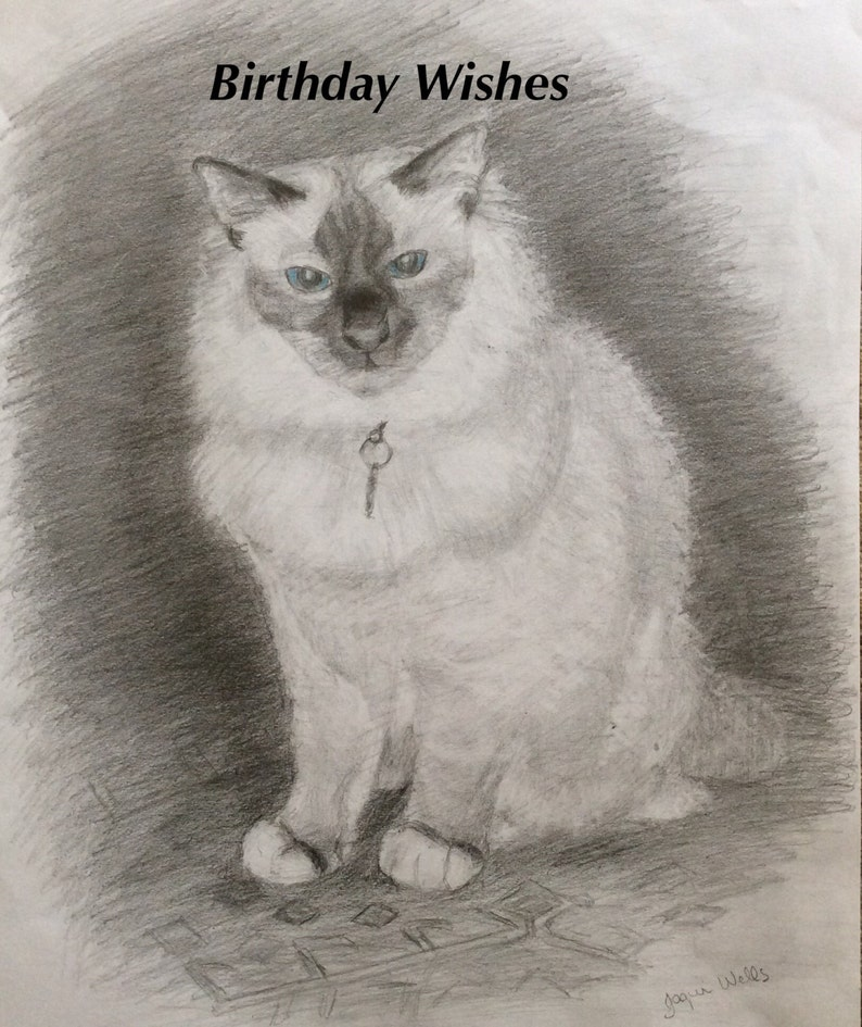 Birthday Card Birman Cat 7x5 From My Original