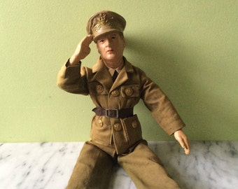 1942 General Douglas MacArthur WORLD WAR II Military Molded Composition Doll created by the Freundlich Novelty Co. Early Action Figure Doll