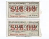 2 Willard Dempsey Boxing Exhibition 15 Dollars Bleacher Ticket Stub July 4 1919 Toledo Athletic Club, Toledo Ohio - Heavy Weight Title Bout