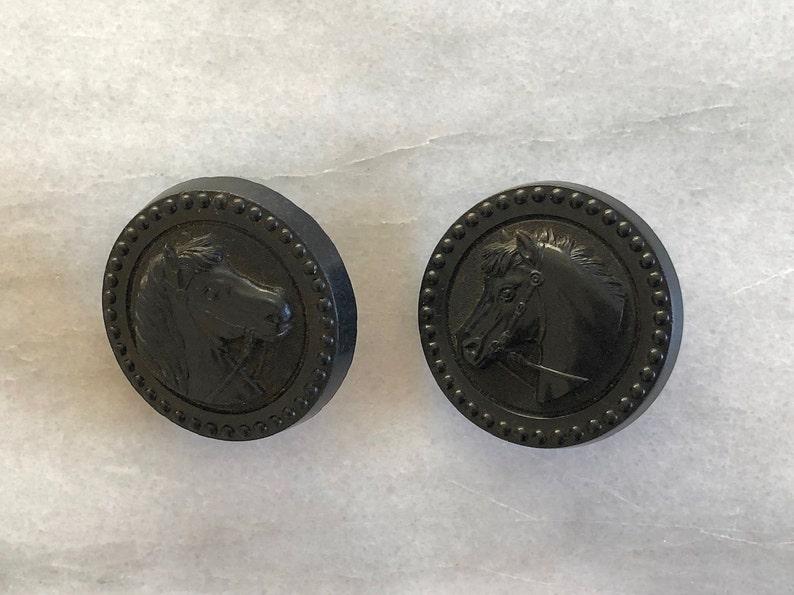 2 Vintage Gutta Percha Horse Bridle Rosettes of a Horse Head