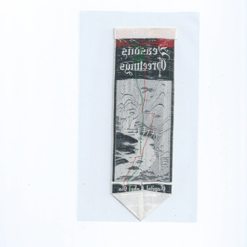 1948 SEASONS GREETINGS Bookmark Woven Silk Label By Capital Label Co.