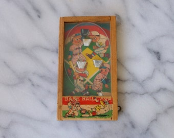 1940s BASEBALL Miniature Bagatelle Dexterity Pinball Game Puzzle Made in Japan