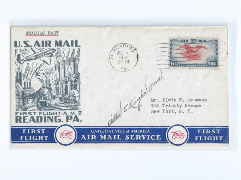 Reading PA First Flight CAM 34 Matching Typed U.S Airmail Event Covers 1941 Autographed East and West Bound Flights August 1