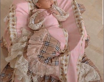 photo prop vintage style baby outfit victorian dress baby girl dress hospital gown vintage rose going home outfit Couture baby gown