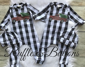 78d37149963b Buffalo plaid romper, first Christmas , baby boy pull on romper, take home  set, baby shower gift, boutique infant outfit, vintage truck