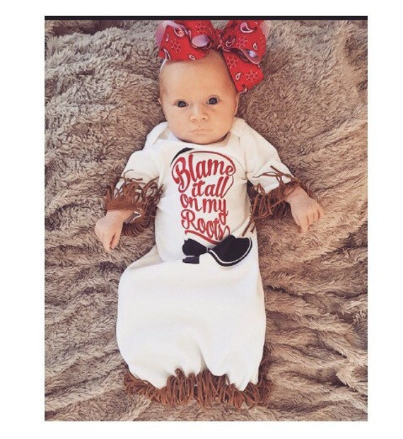 Western infant gown baby girl gown