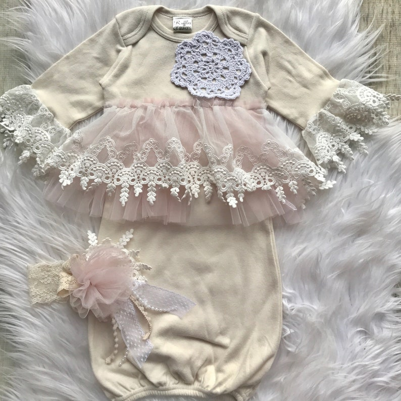 dbaeb5ca6e7eb Chic infant gown, baby girl layette, vintage style lace, coming home  outfit, baby shower gift, baby gown, hospital set, blush baby outfi