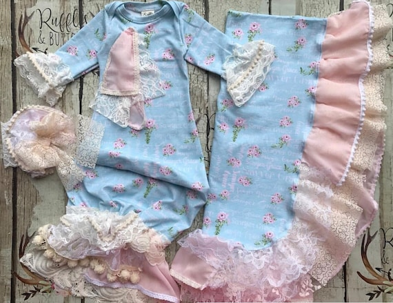 Baby girl gown, personalized, country chic, vintage style, mint pink, over  the top, baby shower gift, going home outfit, name gown