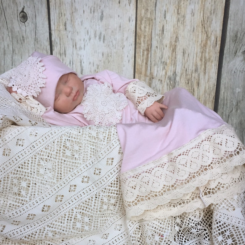 ccba206ac766c Vintage style gown set, dusty pink gown, baby shower gift, going home  outfit, baby dress, best selling items, christening gown