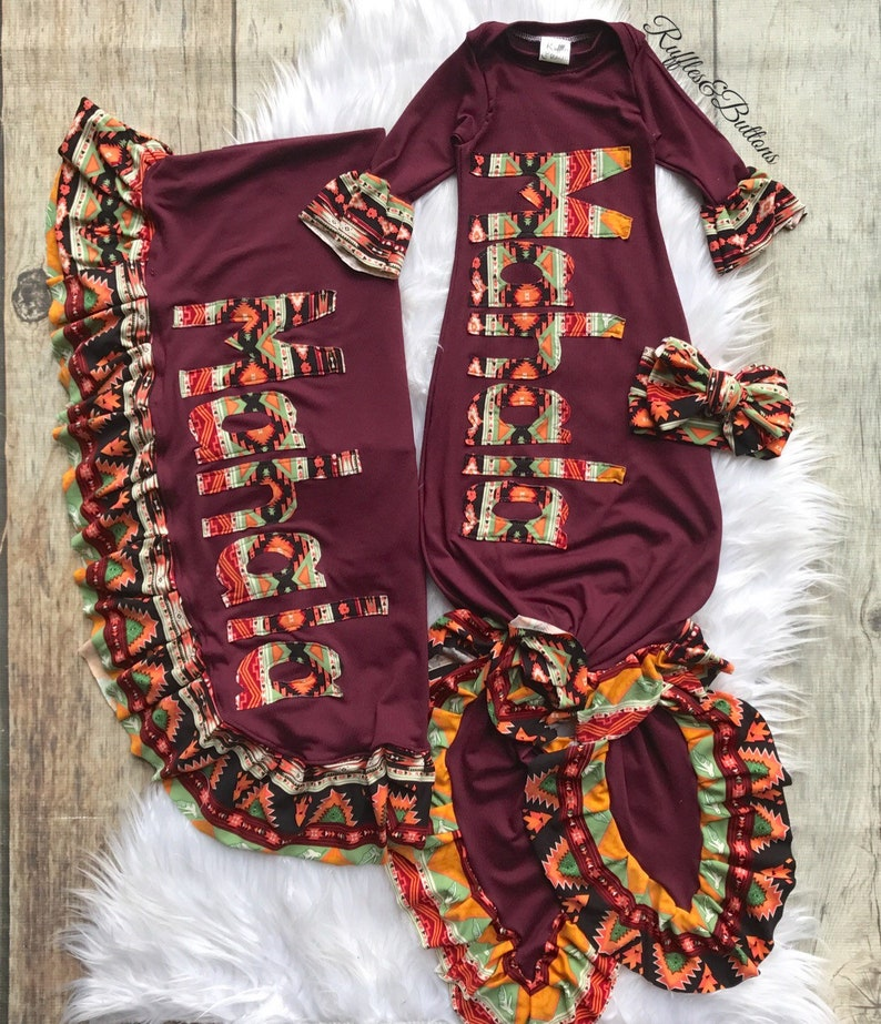 d351ac1480075 aztec name knot gown set, baby girl, coming home outfit, baby shower gift,  fall gown, personalized baby, cranberry gown