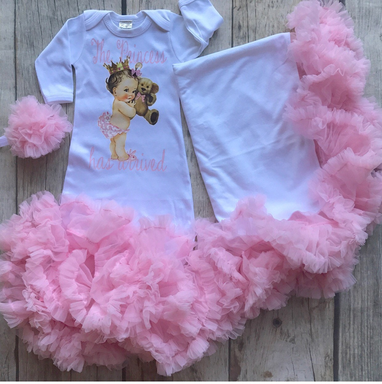 95e775856 Princess gown set the princess has arrived baby girl gown tutu