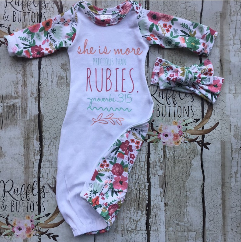 2fe5babb9 She is more precious than rubies floral baby gown scripture