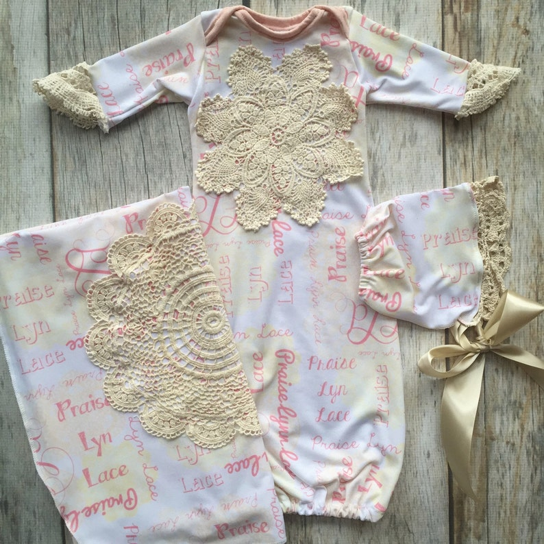 086b875173c6a Vintage style gown, Custom name gown, matching blanket, take home set, baby  girl gown, girl layette, pink lace gown, baby gown