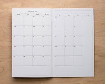 Physical TN Insert - 2021 MO2P Boxed Monday Start Monthly Planner, Traveler's Notebook Insert, Multiple Sizes
