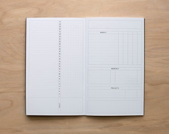 Physical TN Insert - 2021 MO2P Monday Start with Inkimperfections Tracker, Traveler's Notebook Insert, Multiple Sizes