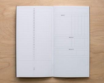 inkimperfections Custom Monthly Tracker, 12 Months, Traveler's Notebook Insert, Planning Insert, Journal, Narrow Planner Insert