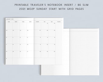Printable TN Insert - B6 Slim - 2021 MO2P Sunday Start with Grid Pages Monthly Planner, Traveler's Notebook Insert, Printable Planner