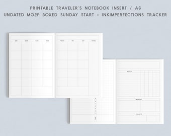 Printable TN Insert - A6 - Undated MO2P Sunday Start with Inkimperfections Tracker, Traveler's Notebook Insert, Printable Planner