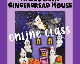 ONLINE CLASS + TEMPLATES Halloween Gingerbread House