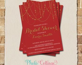 Unique bridal shower invitations etsy bridal shower invitation red gold invitation christmas invitations bridal shower unique invitations bridal shower invitation bs187 filmwisefo