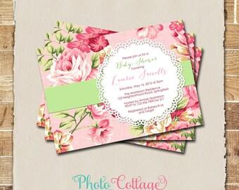 Shabby Chic Baby Shower Invitation, Flower Baby Shower Invitations, Baby Girl invitation, Pink Invitation, BBS130