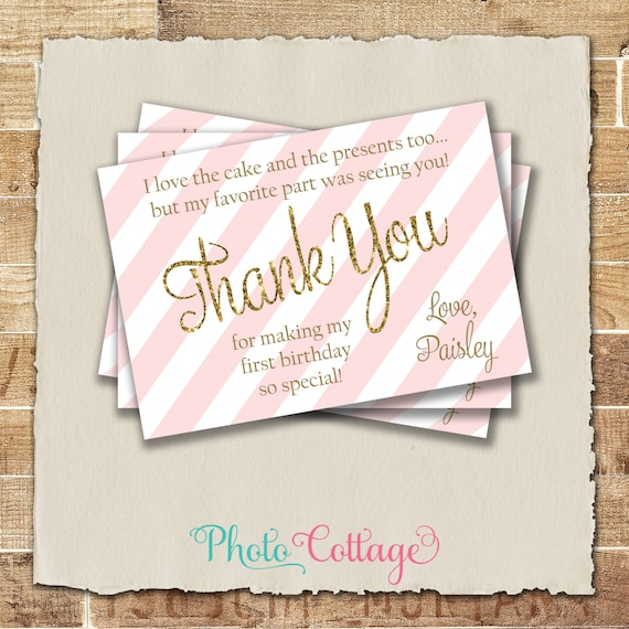 Pink And Gold Thank You Cards First Birthday Thank You Card Etsy