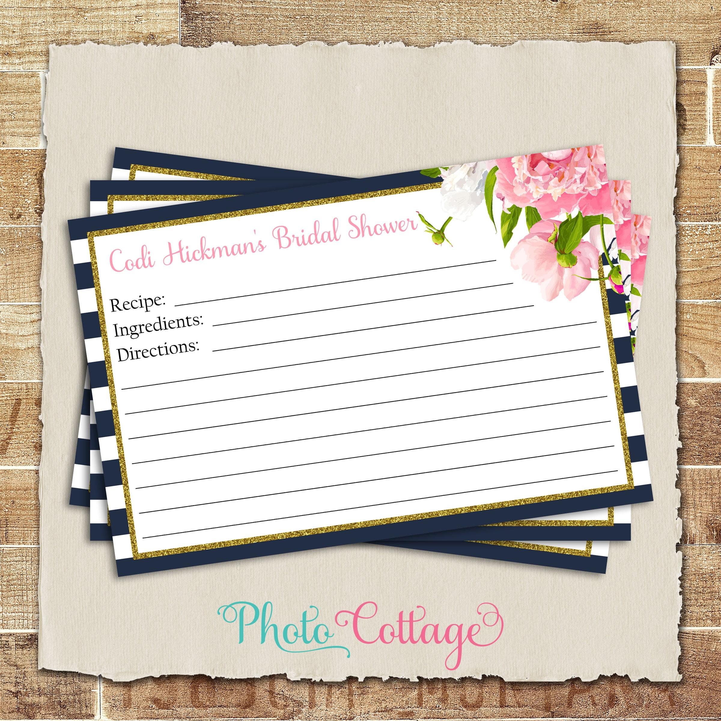 Recipe Cards Bridal Shower Recipe Card Navy Pink Kitchen Etsy