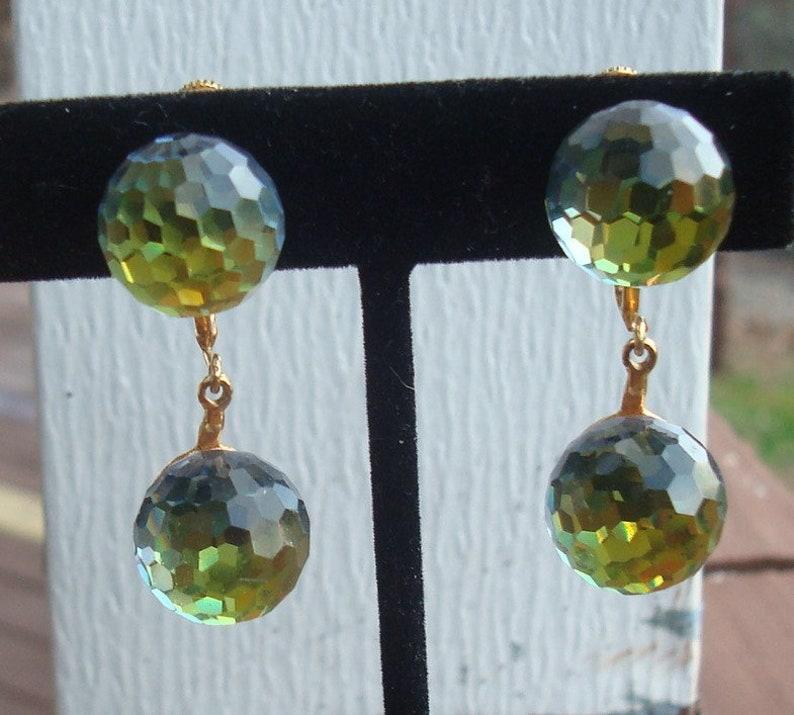 53270281c Vintage Vendome Swarovski Vitrail Medium Blue Green Crystal Double Fireball  Crystal Double Disco Ball Drop Earrings