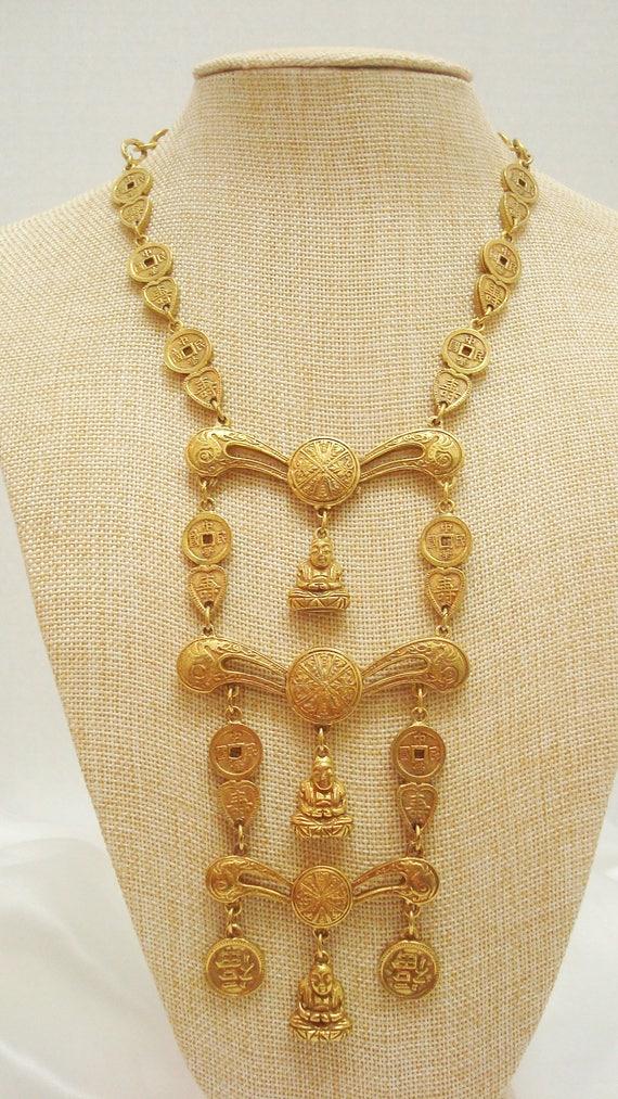 Accessocraft Asian Theme Buddha Goldtone Triple Ti