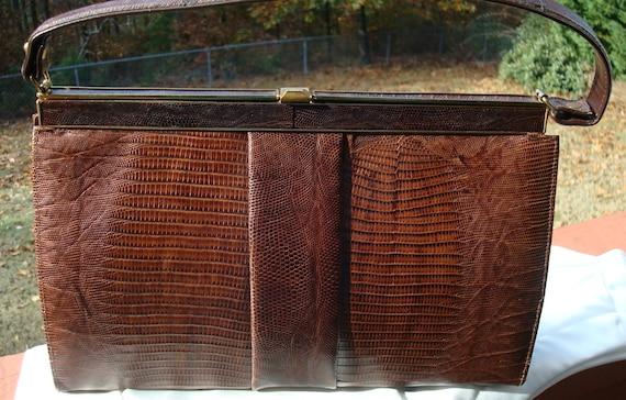 Vassar Brown Genuine Lizard Handbag Purse Kelly Ha