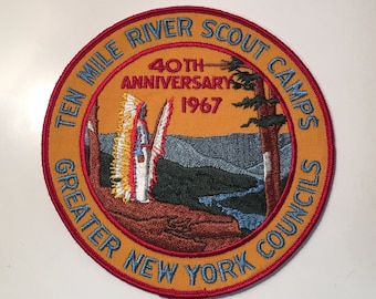 Embroidered Patch Vintage Sanita Hills Compass Jacket Patch Scout Camp Greater New York Councils-B.S.A
