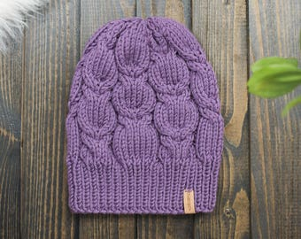 Chunky cabled merino hat, knit mens chunky cabled hat, merino wool winter hat cabled thick extra warm merino wool hat,  wool toque beanie