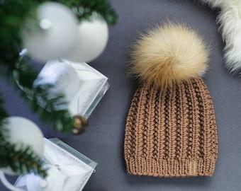 ddb05f151b7aeb Real fur pompom hat, knit winter hat, large fox fur pompom, chunky merino  wool hat, chunky knit hat, adults merino hat