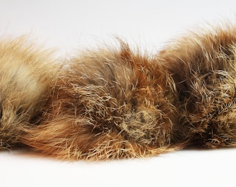 """Lovely red fox 5"""" pompom! Real fur pom-pom, easy to attach and remove, one of a kind accessory, Ideal for knitted hats"""