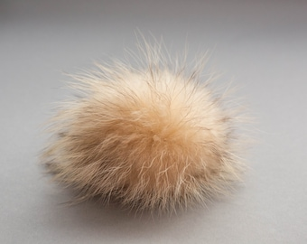 """7"""" EXTRA LARGE Raccoon genuine fur pom-pom, real fur pompom, easy to attach and remove, one of a kind accessory, Ideal for knitted hats"""