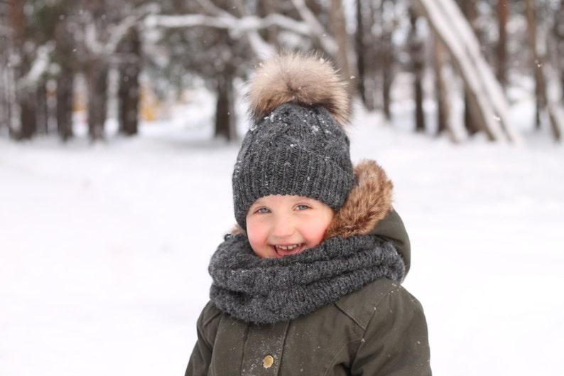 Cappello bambino pelliccia pom pom bambini cappelli maglia  6135ec46fbea