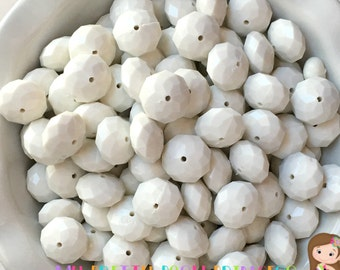 22mm White  Rondelle  Chunky Bubble Gum Beads Set of 10