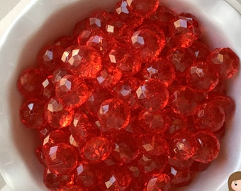 22mm Red Transparent  Rondelle  Chunky Bubble Gum Beads Set of 10