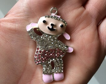 P9  Rhinestone Lambie Pendant for Chunky Necklaces