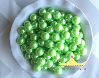 20mm True Lime Green Chunky Beads Bubble Gum Pearls