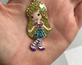 H12 Girl Rhinestone Pendant for Chunky Necklaces
