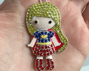 P113 Supergirl Rhinestone Pendant for Chunky Necklaces