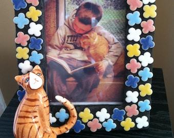 Orange Cat- Mosaic Picture Frame