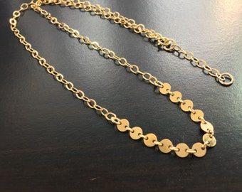 Gold coin chain necklace, Adjustable chain necklace