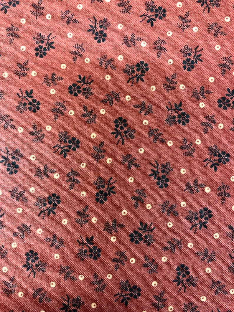 Flower Toss Red Trinkets Cotton Fabric  Fat Quarter Andover