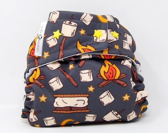 Campfire S'mores Cloth Diaper Cover or Pocket Diaper (One Size)